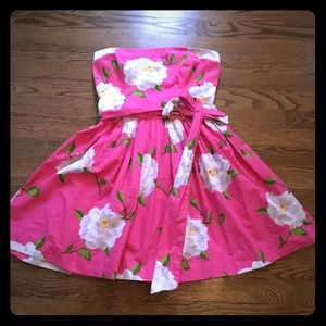 NWT A&F Strapless Elastic Floral Belted Dress